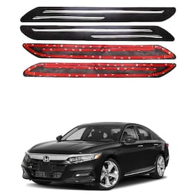 Oshotto Car Black Rubber Bumper Protector with Double Chrome line for Honda Accord -(Set of 4 pcs)