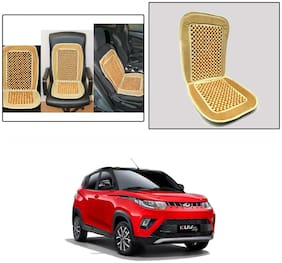 Oshotto Car Wooden Bead Seat Cushion with Velvet Border Compatible with Mahindra Kuv-100 - (Beige)