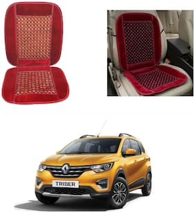 Oshotto Car Wooden Bead Seat Cushion with Velvet Border Compatible with Renault Triber - Red