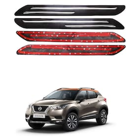 Oshotto Car Black Rubber Bumper Protector with Double Chrome line for Nissan Kicks -(Set of 4 pcs)