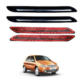 Oshotto Car Black Rubber Bumper Protector with Single Chrome line for Tata Indica -(Set of 4 pcs)
