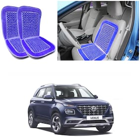 Oshotto Car Wooden Bead Seat Cushion with Velvet Border Compatible with Hyundai Venue - (Blue) Set of 2