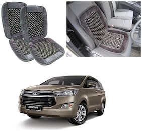 Oshotto Car Wooden Bead Seat Cushion with Velvet Border Compatible with Toyota Innova - (Grey) Set of 2