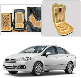 Oshotto Car Wooden Bead Seat Cushion with Velvet Border Compatible with Fiat Linea - Beige