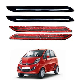 Oshotto Car Black Rubber Bumper Protector with Single Chrome line for Tata Nano -(Set of 4 pcs)