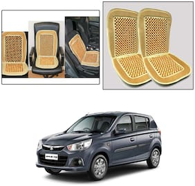 Oshotto Car Wooden Bead Seat Cushion with Velvet Border Compatible with Maruti Suzuki Alto K10 - (Beige) Set of 2