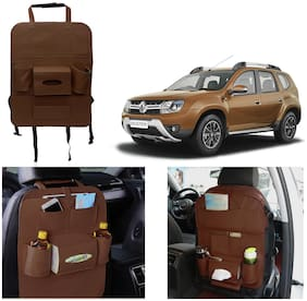 Oshotto Car Backseat Storage Organizer Phone Holder,Multi-Pocket for Bottles,Tissue Boxes,Kids Toy Storage and Great Travel Accessory Compatible with Renault Duster (Brown)
