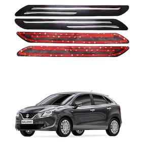 Oshotto Car Black Rubber Bumper Protector with Double Chrome line for Maruti Suzuki-Baleno -(Set of 4 pcs)