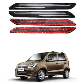 Oshotto Car Black Rubber Bumper Protector with Double Chrome line for Maruti Suzuki Wagon R 2010 Onwards -(Set of 4 pcs)