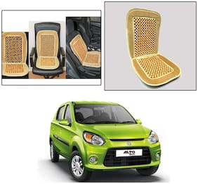 Oshotto Car Wooden Bead Seat Cushion with Velvet Border Compatible with Maruti Alto-800 - (Beige)