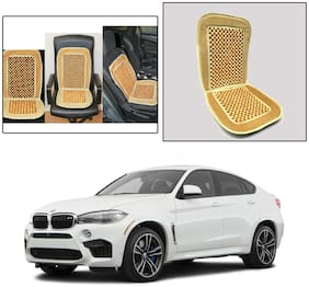 Oshotto Car Wooden Bead Seat Cushion with Velvet Border Compatible with BMW X6 - Beige