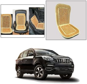 Oshotto Car Wooden Bead Seat Cushion with Velvet Border Compatible with Mahindra Alturas G4 - Beige
