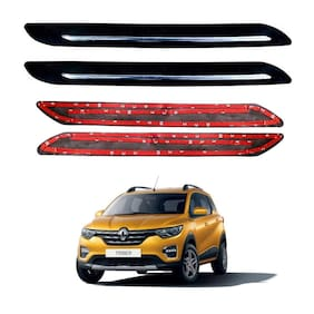 Oshotto Car Black Rubber Bumper Protector with Single Chrome line for Renault Triber -(Set of 4 pcs)