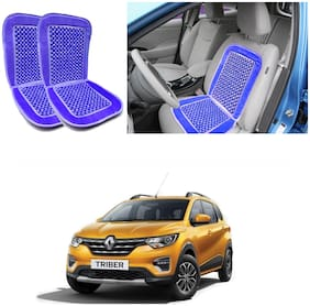 Oshotto Car Wooden Bead Seat Cushion with Velvet Border Compatible with Renault Triber - (Blue) Set of 2