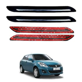 Oshotto Car Black Rubber Bumper Protector with Single Chrome line for Maruti Suzuki Swift Dzire Old -(Set of 4 pcs)