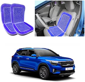 Oshotto Car Wooden Bead Seat Cushion with Velvet Border Compatible with Kia Seltos - (Blue) Set of 2