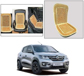 Oshotto Car Wooden Bead Seat Cushion with Velvet Border Compatible with Renault Kwid - (Beige)