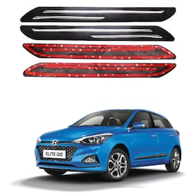 Oshotto Car Black Rubber Bumper Protector with Double Chrome line for Hyundai i20 Elite/Active -(Set of 4 pcs)