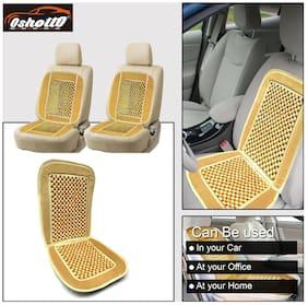 OSHOTTO Car Wooden Bead Seat Cushion with Grey Velvet Border for Hyundai Creta - Set of 2