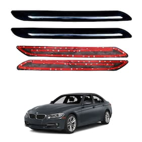 Oshotto Car Black Rubber Bumper Protector with Single Chrome line for BMW 3 Series 2020 -(Set of 4 pcs)