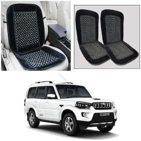 Oshotto Car Wooden Bead Seat Cushion Velvet Border Compatible with Mahindra Scorpio - (Black) Set of 2
