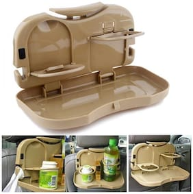OSHOTTO Car Tray Food Stand Rear Seat Beverage Rack Water Drink Holder Bottle Travel Foldable Meal Cup Desk Table Seat Back Organizers For Mahindra Scorpio (Beige) -1 Piece