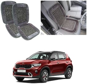 Oshotto Car Wooden Bead Seat Cushion with Velvet Border Compatible with Kia Sonet - (Grey) Set of 2