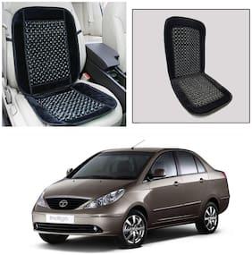 Oshotto Car Wooden Bead Seat Cushion with Velvet Border Compatible with Tata Indigo - Black