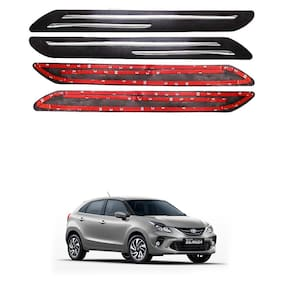 Oshotto Car Black Rubber Bumper Protector with Double Chrome line for Toyota Glanza -(Set of 4 pcs)
