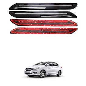 Oshotto Car Black Rubber Bumper Protector with Double Chrome line for Honda City I-dtec 2014 Onwards -(Set of 4 pcs)