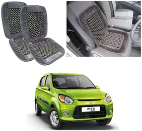 Oshotto Car Wooden Bead Seat Cushion with Velvet Border Compatible with Maruti Alto-800 - (Grey) Set of 2