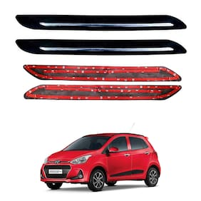 Oshotto Car Black Rubber Bumper Protector with Single Chrome line for Hyundai i10 Grand -(Set of 4 pcs)