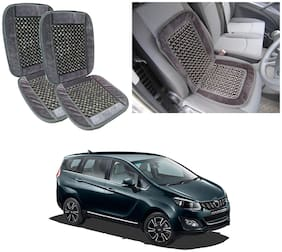 Oshotto Car Wooden Bead Seat Cushion with Velvet Border Compatible with Mahindra Marazzo - (Grey) Set of 2