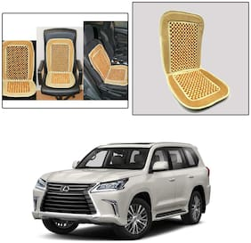 Oshotto Car Wooden Bead Seat Cushion with Velvet Border Compatible with Lexus LX 570 - Beige