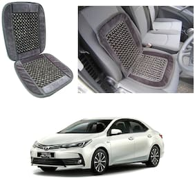 Oshotto Car Wooden Bead Seat Cushion with Velvet Border Compatible with Toyota Altis - (Grey)