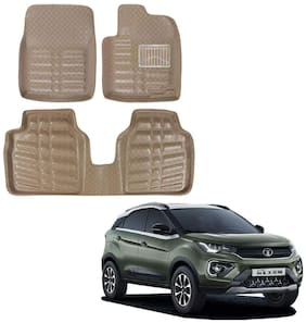 Oshotto Custom Fit 3D Artifical Leather Car Mat Compatible With Tata Nexon - Beige (Set Of 3)