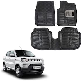 Oshotto Custom Fit 3D Artifical Leather Car Mat Compatible With Maruti Suzuki S-Presso - Black (Set Of 3)