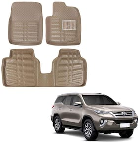 Oshotto Custom Fit 3D Artifical Leather Car Mat Compatible With Toyota Urban Cruiser - Beige (Set Of 3)