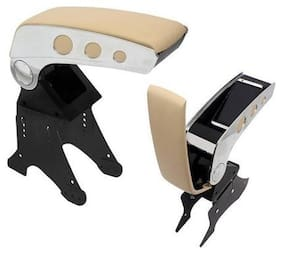 Oshotto Dual Tone Car Armrest Console Beige & Chrome Universal for All Cars