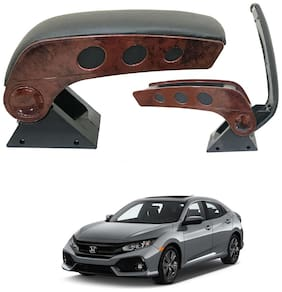 Oshotto Dual Tone Car Armrest Console Wooden & Chrome for Honda Civic