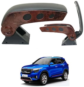 Oshotto Dual Tone Car Armrest Console Wooden & Chrome for Kia Seltos