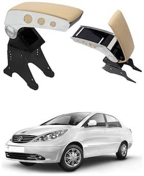 Oshotto Dual Tone Car Armrest Console Beige & Chrome for Tata Indigo Manza