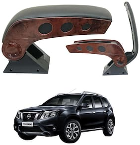 Oshotto Dual Tone Car Armrest Console Wooden & Chrome for Nissan Terrano