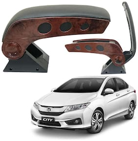 Oshotto Dual Tone Car Armrest Console Wooden & Chrome for Honda City Old/ZX