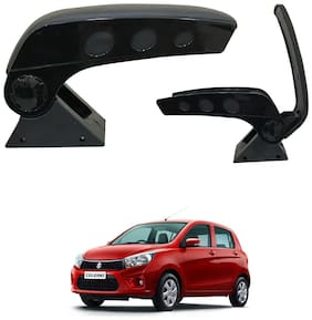 Oshotto Dual Tone Car Armrest Console Dark Black & Chrome for Maruti Celerio/Celerio X
