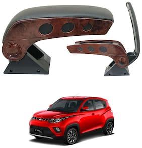 Oshotto Dual Tone Car Armrest Console Wooden & Chrome for Mahindra Kuv-100