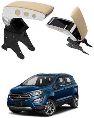 Oshotto Dual Tone Car Armrest Console Beige & Chrome for Ford Eco Sports