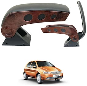 Oshotto Dual Tone Car Armrest Console Wooden & Chrome for Tata Indica