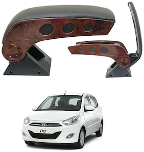 Oshotto Dual Tone Car Armrest Console Wooden & Chrome for Hyundai i10 OLD