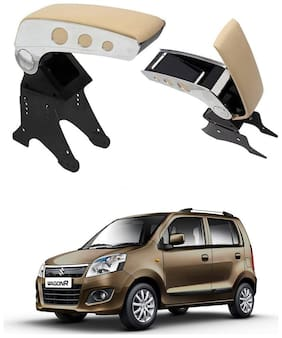 Oshotto Dual Tone Car Armrest Console Beige & Chrome Compatible with Maruti Suzuki WagonR 2010 Onwards